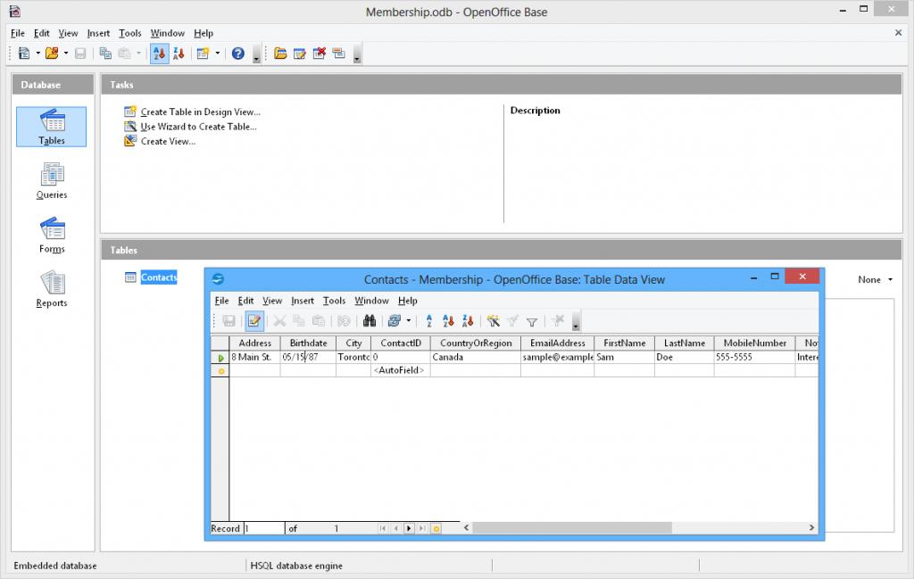 interface openoffice base